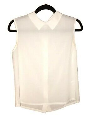 603a2d8b173b3 EQUIPMENT WOMENS SLEEVELESS Button Down Collared Blouse Gray White ...