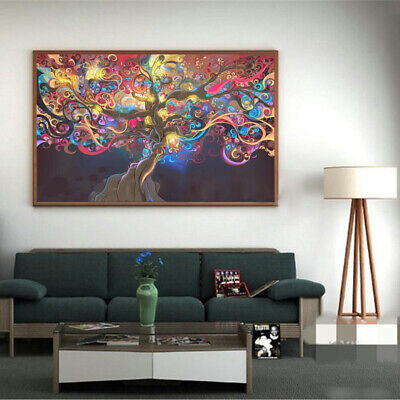 Psychedelic Trippy Tree Abstract Art Silk Print Cloth Poster Room Wall Decor