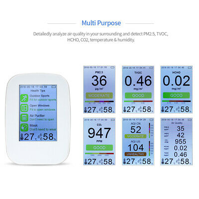 Air Quality Monitor Carbon Dioxide Detector HCHO TVOC Temp Humidity Meter Z1L0