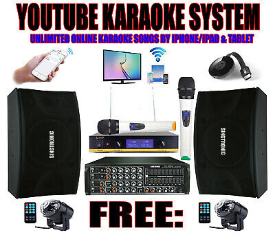 Complete Professional Youtube 2000W Karaoke System Built in 9 Band Equilizer