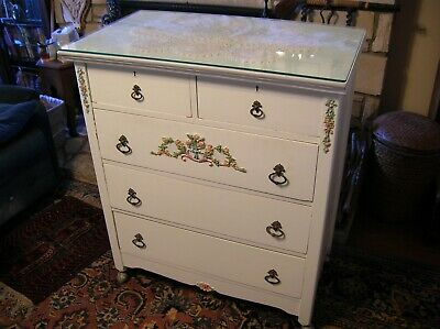 Antique Dresser Hand Painted On Wheels Drawers Work Good