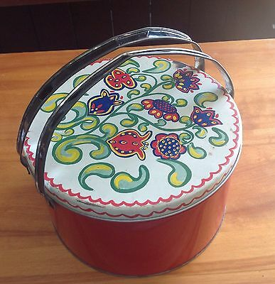 Vintage Cookie TIN Canister LUNCH Pail Sewing Colorful Paisley Floral Litho