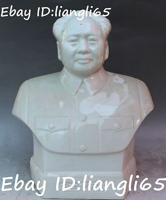 Chinese Dehua White Porcelain Great leader Mao Zedong Chairman Head Bust Statue