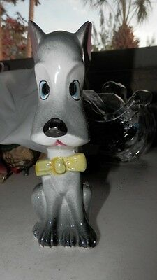 Vintage Porcelain or Ceramic Scottie Dog with Yellow Bow Tie Scottish Terrier