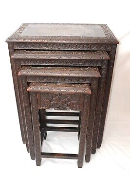 antique Chinese Carved nesting Tables