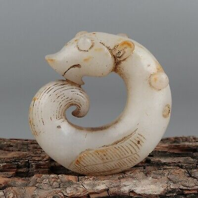 Chinese Exquisite Hand-carved Mythical animal Carving Hetian jade Pendant