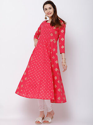 Indian Women Ethnic Pink Anarkali Kurta Kurti Party Designer Top Tunic Dress