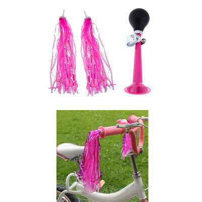 Kids Bike Scooter Tricycle Girls Handlebar Streamer Tassels with Air Horn