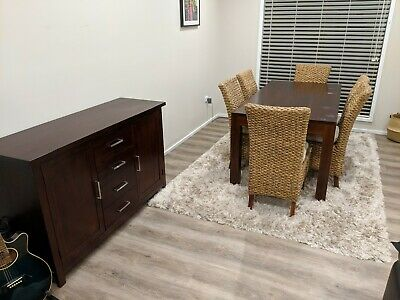 Timber Dining Table With Matching Buffet And Cane Chairs Room Set