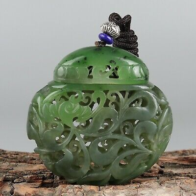 Chinese Exquisite Hand-carved Hollow flower Carving Hetian jade Pendant