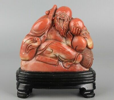 Chinese Exquisite Hand carved Longevity god Carving Shoushan Stone seal