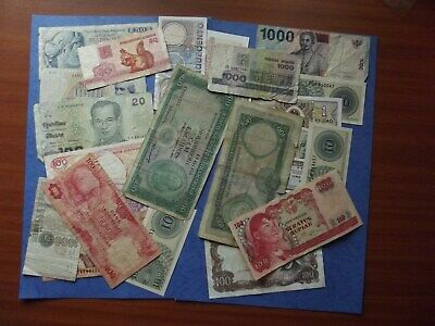 OLD/Collectable - Paper Banknotes - LOT of 23 Notes - Various Countries