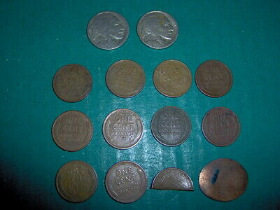 Lot Of 12 Old Coins - 10 Wheat Pennies, 2 Buffalo Indian Head Nickels Penny
