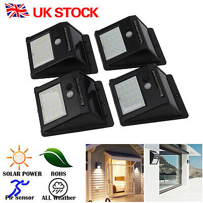 20 LED Solar Powered PIR Motion Sensor Light Outdoor Garden Security UK STOCK