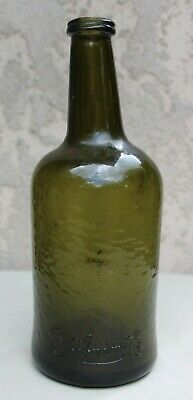 Antique Duff Gordon No. Sherry Wine Bottle Dark Olive Green