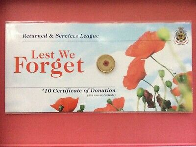 2012 Remembrance Day $2 red poppy coin on RSL donation card, UNC