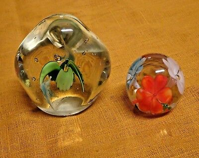 Lot of 2 : Vintage Murano Style Mid-Century Modern Art Glass Paperweights