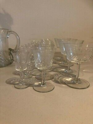 1920's Antique Etched Glassware Set with matching Jug