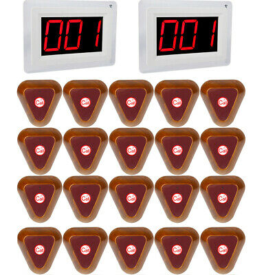 Restaurant Wireless Guest Calling System 2*LED Display Host+20*Call Button 999CH