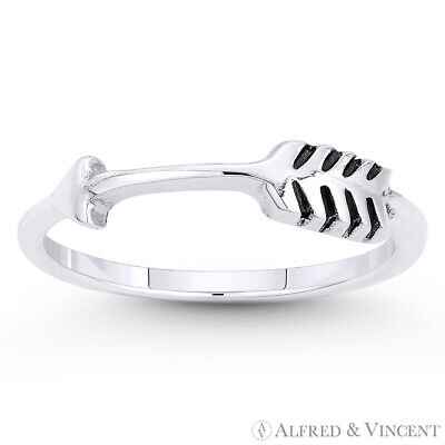 Arrow & Quill Archery Charm Adjustable Bypass Ring in Solid .925 Sterling Silver
