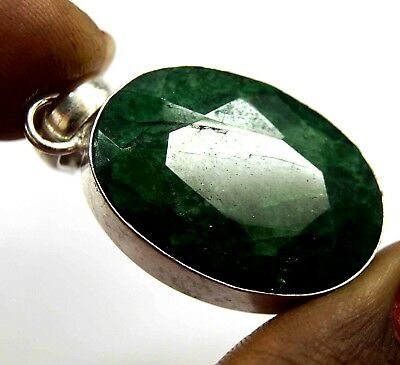 GGL Certified 60.40 Ct Green Emerald Gemstone Pendant 925 Solid Sterling Silver