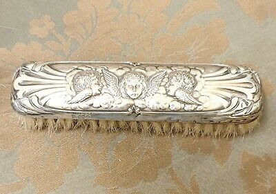 ANTIQUE Solid Silver Clothes Brush 1904 angels