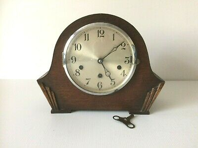Vintage 1920's Art Deco Oak Mantel Clock