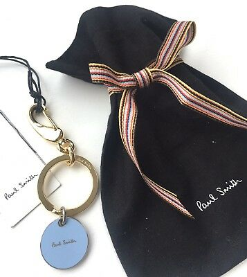 Paul Smith Gold Tone With Sky Blue Enamel Signature Logo Keyring Fob With Pouch