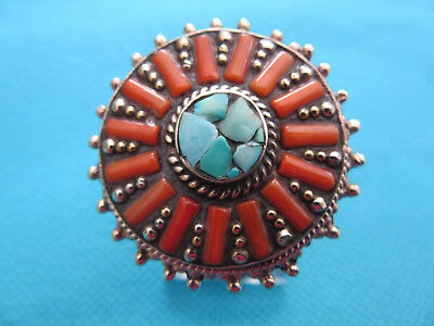 925 Sterling Silver Huge Turquoise & Coral Tribal Ring UK W, US 11 (rg0970)