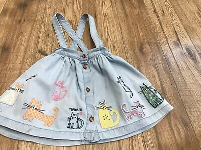 Next Girls Blue Cotton Cat Themed Skirt With Braces 18-24 Months