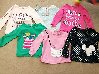 6x Girls Long Sleeved Tshirts 12-18 Months.