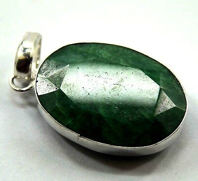 GGL Certified 77.60 Ct Green Emerald Gemstone Pendant 925 Solid Sterling Silver