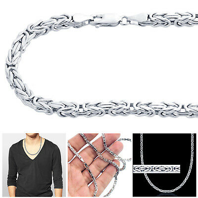 """14k White Gold 3mm Solid Mens Womens Byzantine Chain Necklace 18""""-30"""" Inches"""
