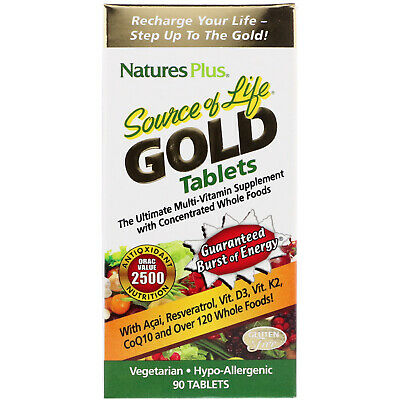 Nature's Plus, Source of Life Gold, The Ultimate Multi-Vitamin Supplement, 90...