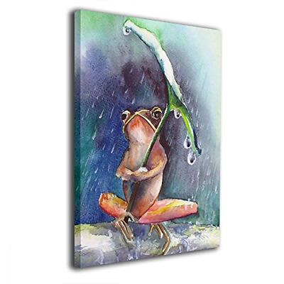 Bold And Brash Watercolor Animal Frog in Rain Painting Canvas Wall Art Squidward