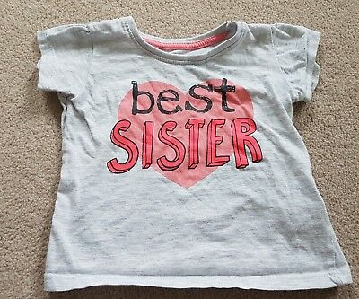 Primark Baby Girls Tshirt - Best Sister - Size 12-18 Months USED