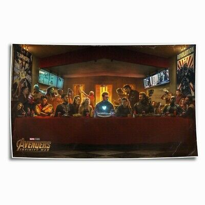 Avengers Last Supper HD Canvas prints Painting Home Decor Picture Room Wall art