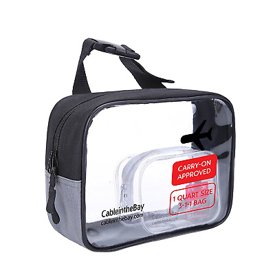 Cableinthebay TSA Approved Toiletry Bags| Clear Travel Toiletry Bag|Quart Size