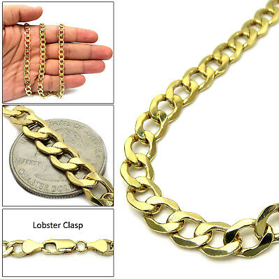 """Mens Womens 10k Yellow Gold 8mm Cuban Curb Link Chain Necklace 16""""-30"""""""