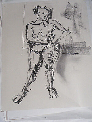 Figure life drawing nude expressive, charcoal/paper woman standing, < A1 size @