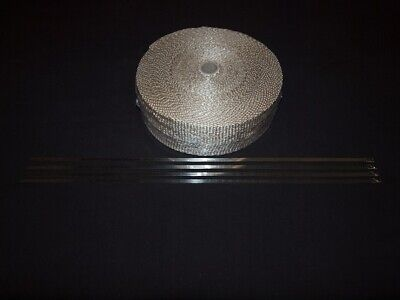 High Temperature Magma Exhaust Wrap 50mm x 20m Plus Stainless ties