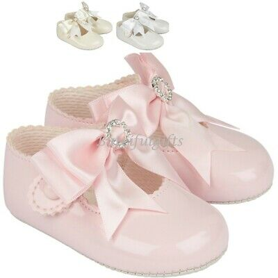 for Chris Baby Girl Soft Sole Baypod Shoe Large Satin Bow and Diamante Detail