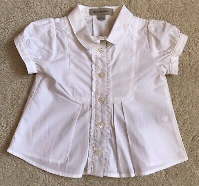 Burberry Baby Girl Shirt Blouse 3 Months White 100% Authentic