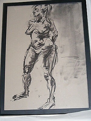 Figure life drawing nude expressive, charcoal / paper, woman standing, A1 size @