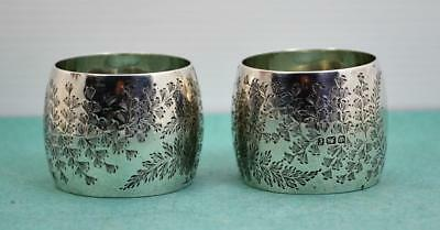 Art Nouveau Sterling Silver Napkin Rings 2 Floral Chased M & W Sheffield 1898