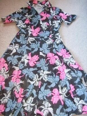 vintage retro 60s 70s black pink grey white floral dress mod scooter 12 10