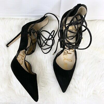 04056333e211 Sam Edelman Dayna Black Suede Point Toe Lace Up Heel Pump Women s 8.5