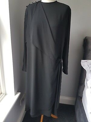 Jaeger Vintage Black  Mock Wrap Dress Padded Shoulders Size 16