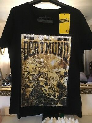 BORUSSIA DORTMUND WOMENS T-SHIRT TOP size XXL (Football Supporters) VERY BLINGY!