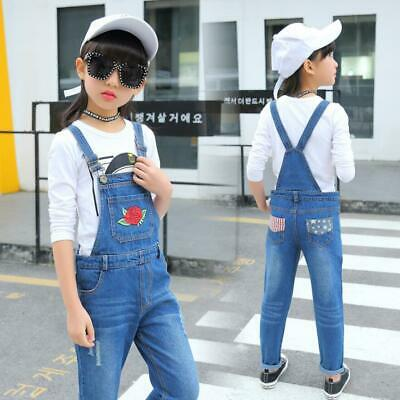 Kids Girls Embroidery Ripped Dungarees Jeans Denim Pants Overalls Jumpsuits New